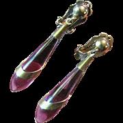 Lovely Retro Modern Amethyst Glass Dropper Earrings