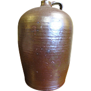 Large 3 Gal. Mid 19th Century Edgefield Pottery Jug Alkaline Glazed.‏