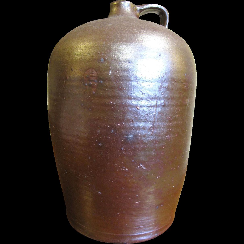 Large 3 Gal. Mid 19th Century Edgefield Pottery Jug Alkaline Glazed.