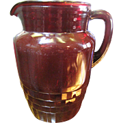 1940's Anchor Hocking Royal Ruby Red Windsor Pitcher‏,Rare!