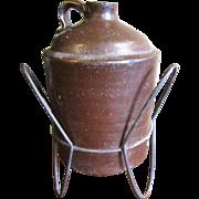 Rare 1 Gal. Mid 19th Century Edgefield Alkaline Glazed Jug, Handmade Stand