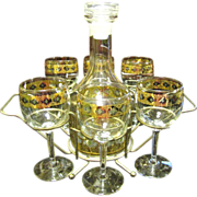 Stylish Mid Century Culver Glass Decanter and Glass Set with Caddy