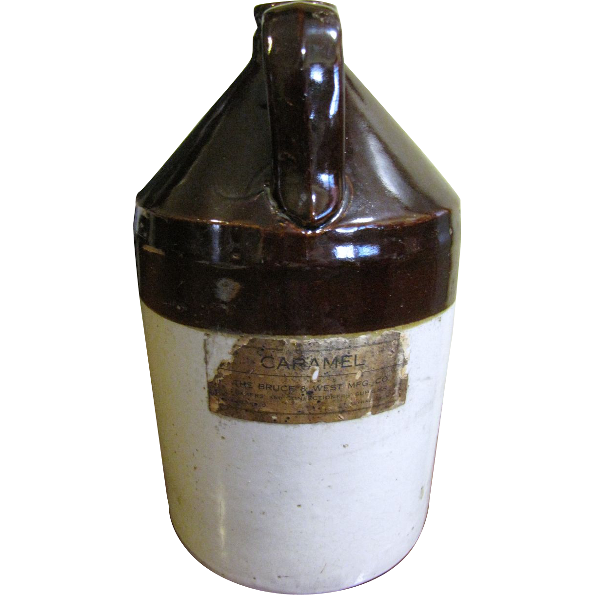 "One Gallon Salt Glazed Stoneware Jug, Original ""Bruce & West Mfg. Co."" Label"