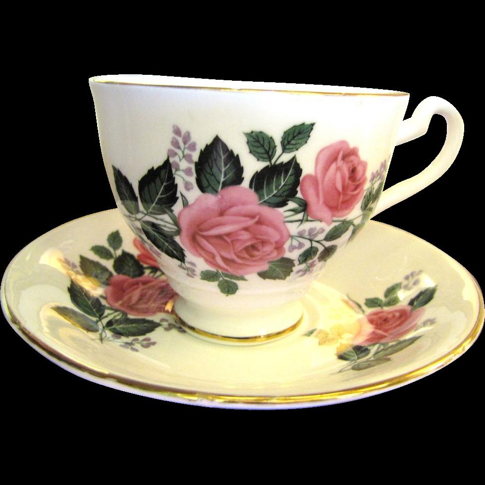 Super Pretty English Bone China Rose Pattern Cup & Saucer