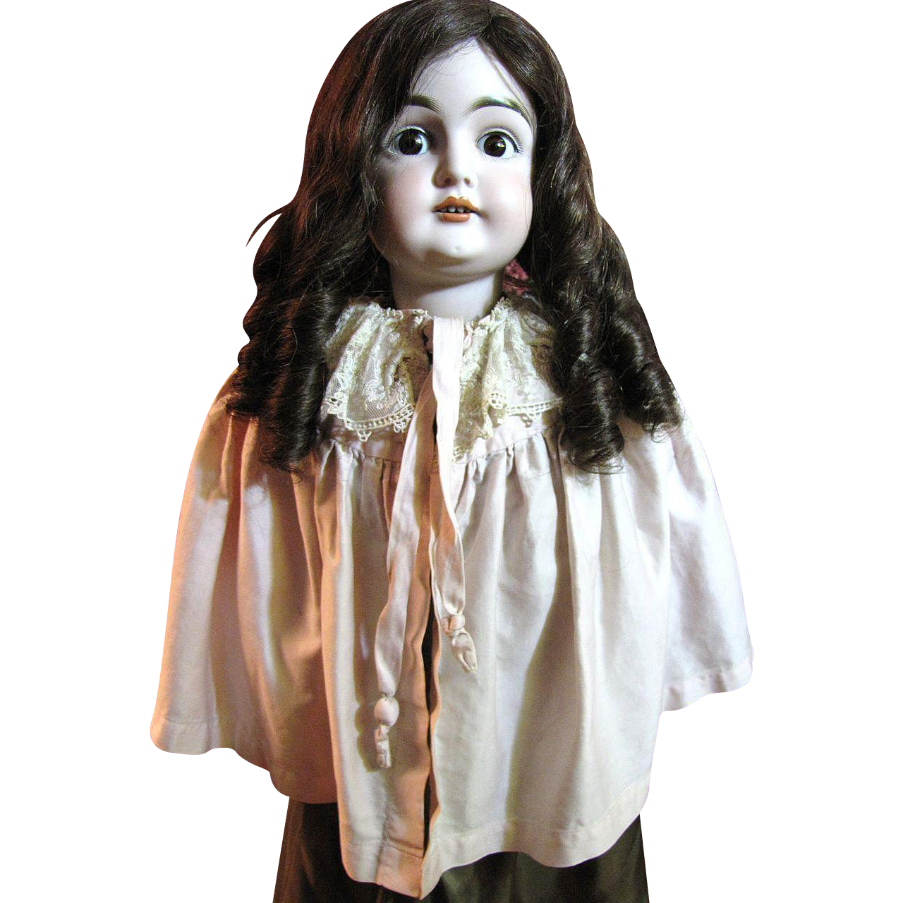 Sweet Little Pink Doll Cape with Lace Trim