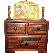 Beautiful Old Marquetry Chest of Drawers for Fashion Doll
