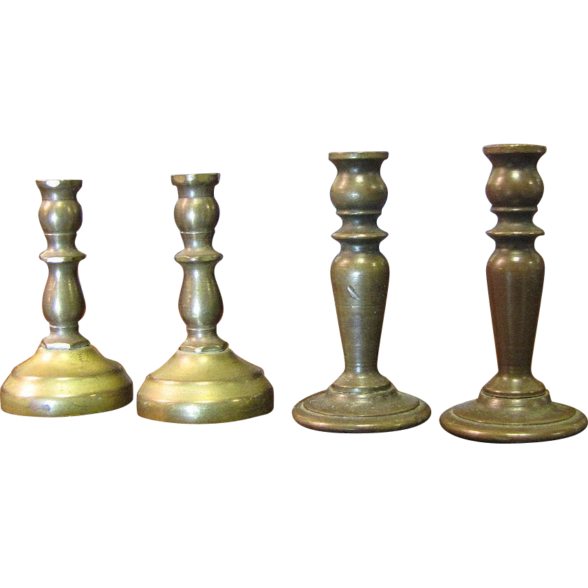 2 Pairs of Minaiture Brass Vintage Candlesticks