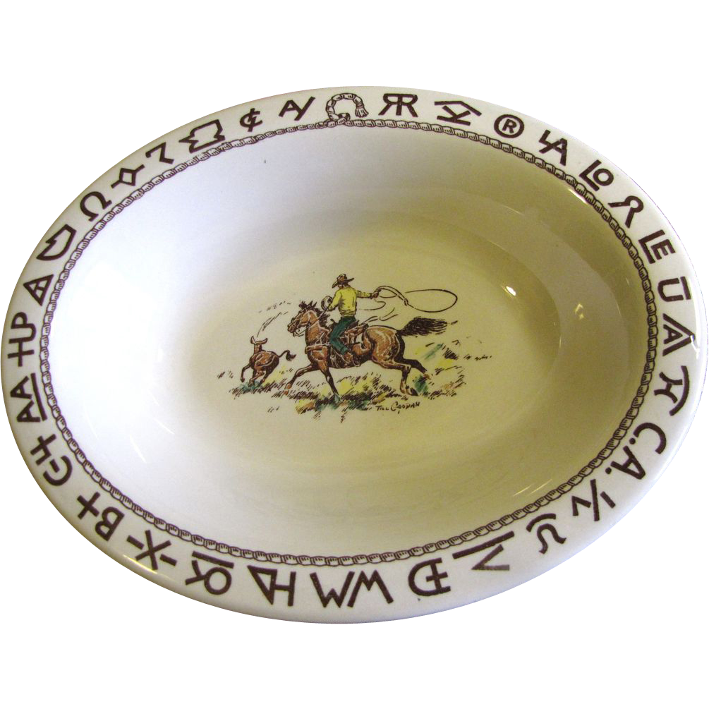 "Westward Ho Rodeo Pattern by Wallace 12"" Oval Serving Bowl, Rare"