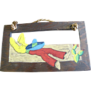 Fun Pair of Vintage Hand Painted Mexican Wooden Wall Hangers