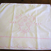 Sweetest Pink Embroidered Heart Baby Pillow Case