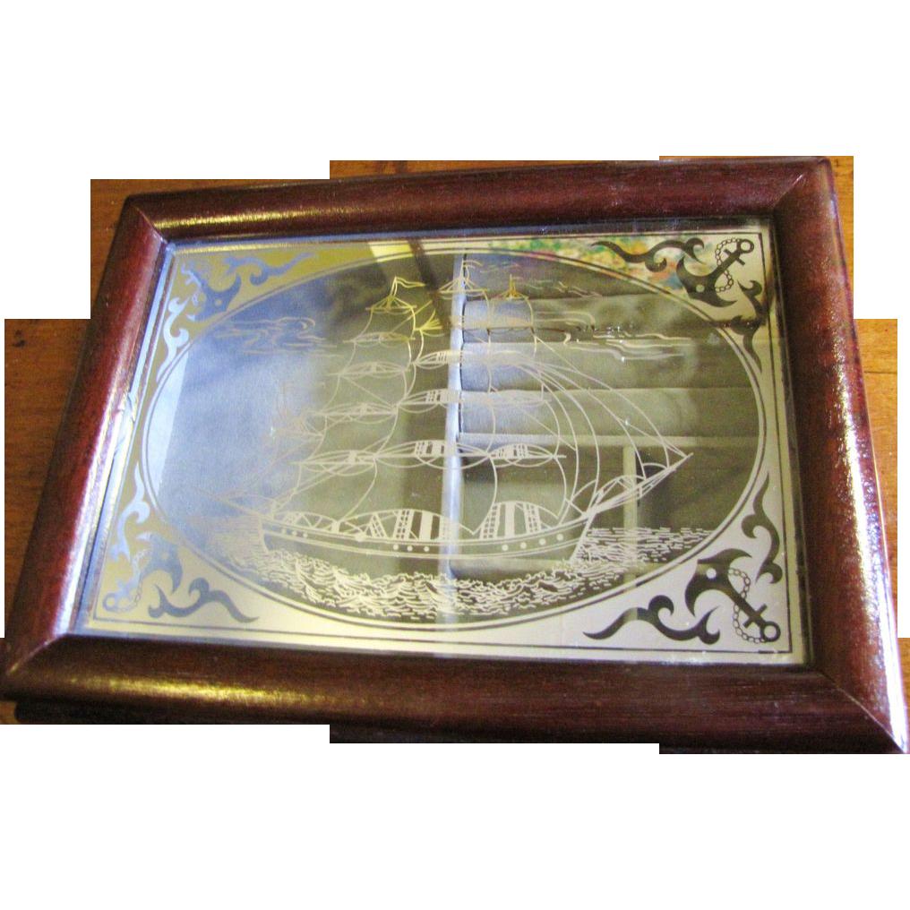 Stylish Vintage Ship Jewelry Box, Ship Logo!