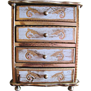Beautiful Hand Painted Vintage Florentine Musical Doll Chest