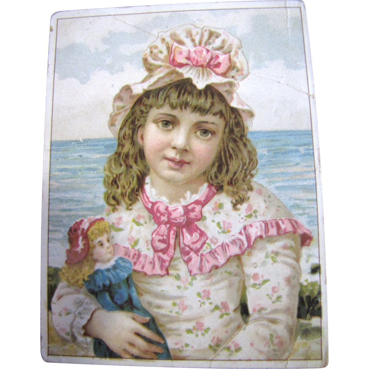 Adorable Girl With Doll Postcard, Perfect to Frame for Doll Room