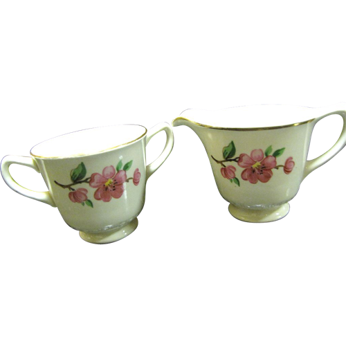 Homer Laughlin Creamer and Sugar Basin, Apple Blossom
