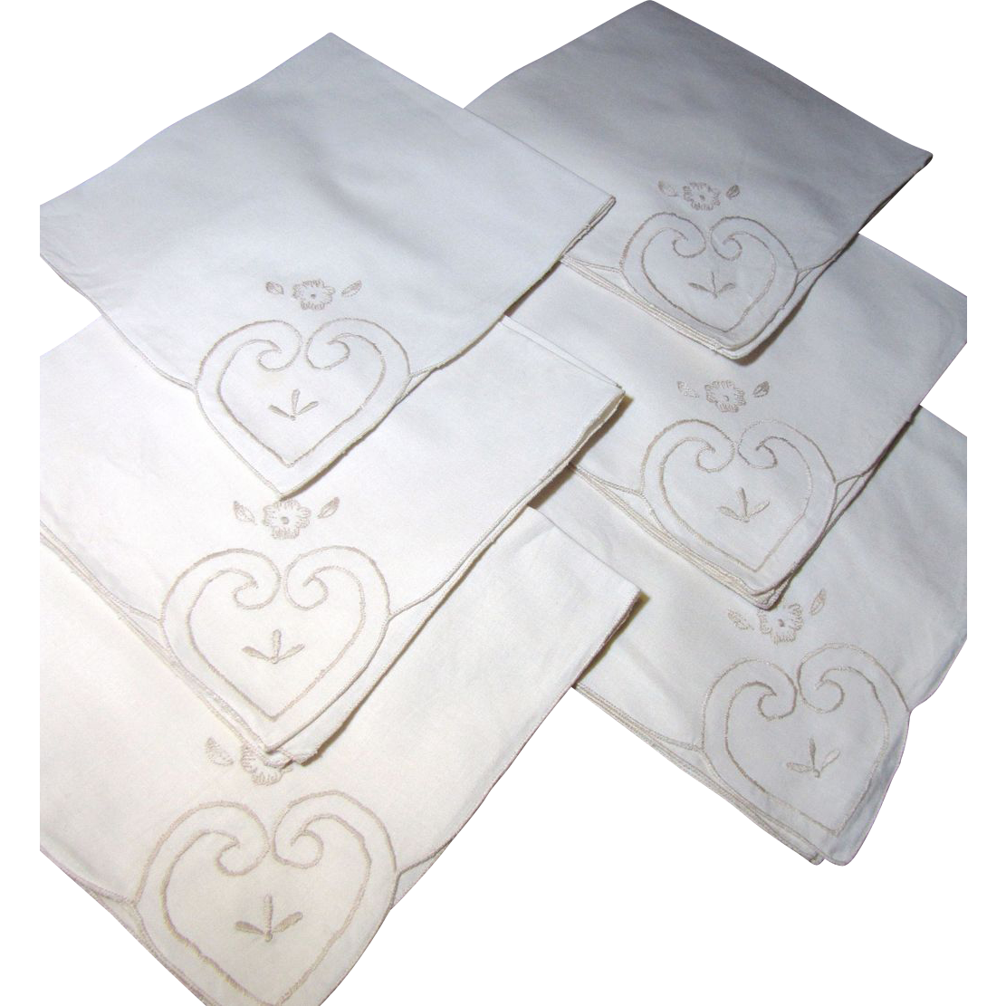 Lovely Set of 6 Unsued Vintage Cream Embroidered Napkins
