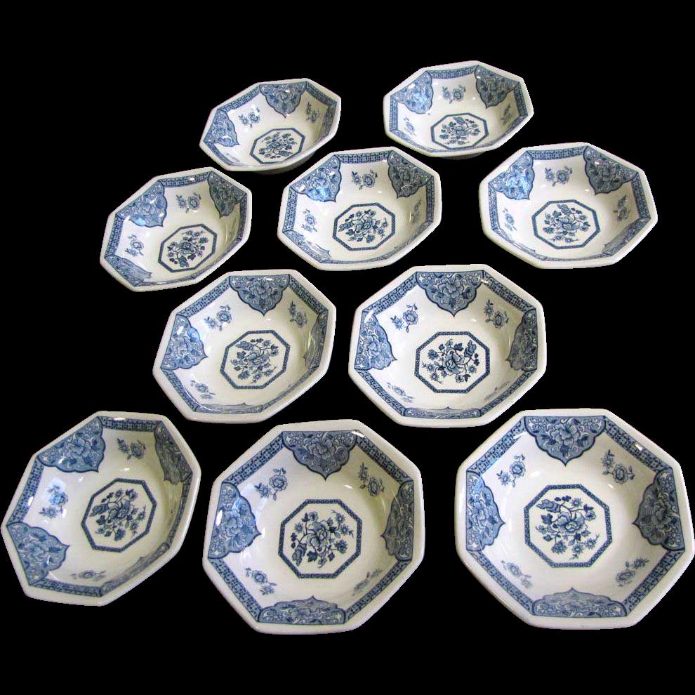 """10 Meakin Staffordshire Old Pekin Pattern 5 1/2"""" Bowls"""