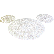 Set of 3 Exquisite Vintage Matching Dresser Lacy Doilies