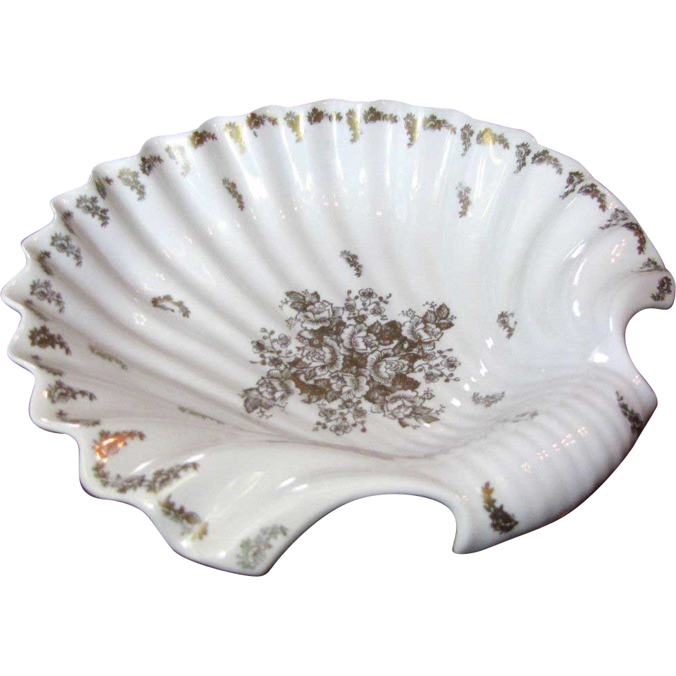 "Massive 12"" French Porcelain Shell Shaped Bowl Lavished with Gilt Florals"