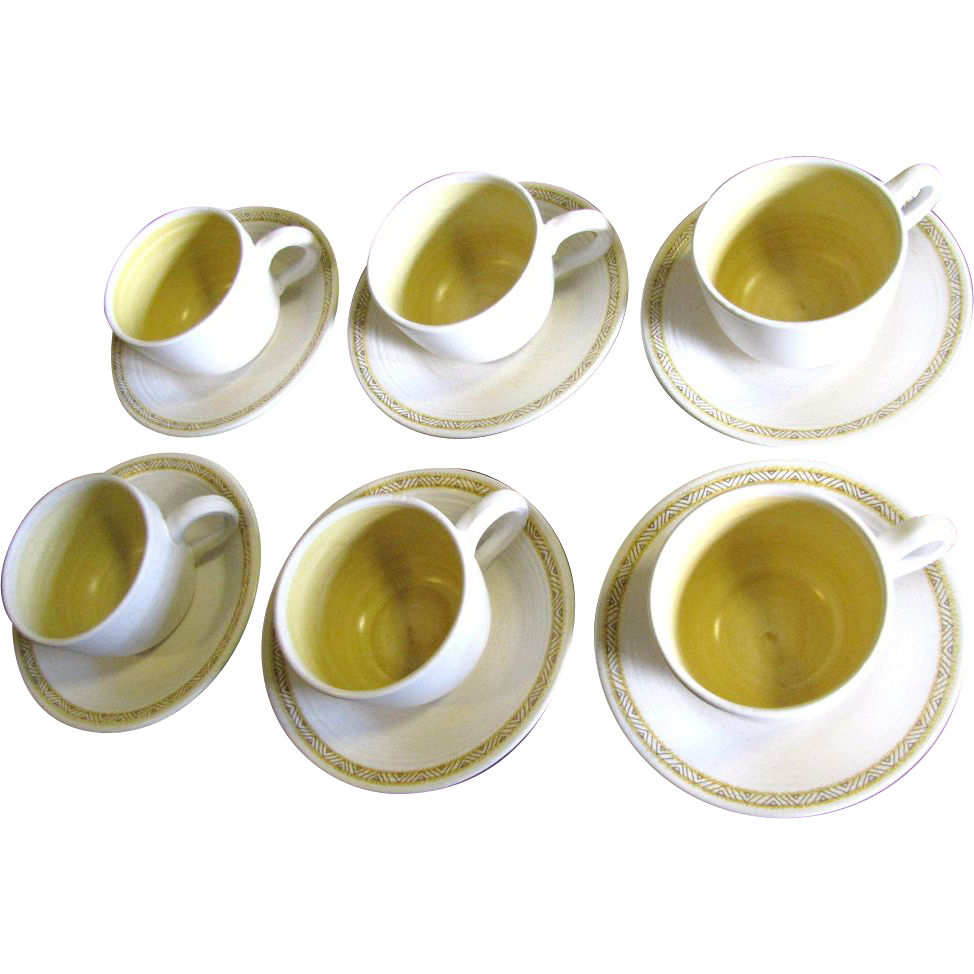 Six Cup & Saucer Sets in Franciscan Hacienda Gold