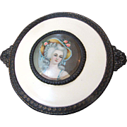 Loveliest 1930's Gilt Metal & Celluloid Portrait Dresser Trinket Box
