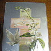 "1910 ""Easter Wishes"" Embossed and Silvered Postcard"