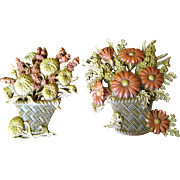Nice Pair of 1960's Floral Wall Plaques, Decorative!