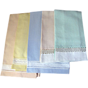 Super Set of 5 Vintage Pastel Hand Guest Towels