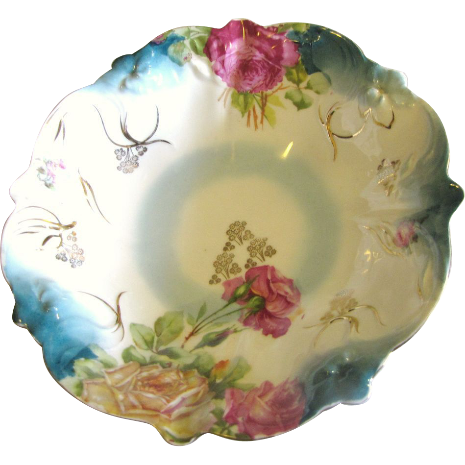 Antique PS Germany Sorau Porcelain Rose Floral Bowl ca 1898-1918