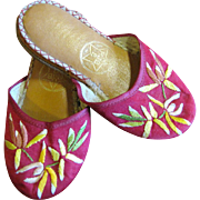 Darling Little Pair of Embroidered Oriental Slippers