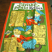 Fun Vintage Unused Irish Potato Recipe Tea Towel