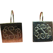 Lovely Vintage Sterling Mexican Monogrammed Pierced Earrings