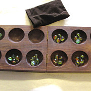Nice Vintage Hardwood Folding Mancala Game with Marble Counters