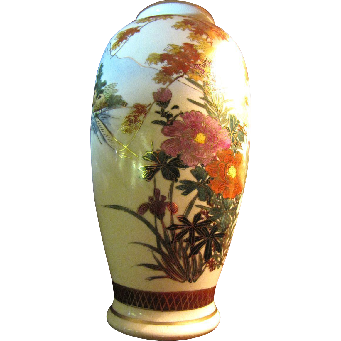 Lovely Vintage Kutani Vase, Beautiful Gilt Painted Landscape