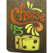 Fun Vintage Artisan Made Cheese Board Wall Hanger