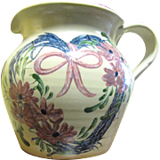 """Casey Pottery 6"""" Pitcher Beautiful Heart Shaped Wreath Design"""