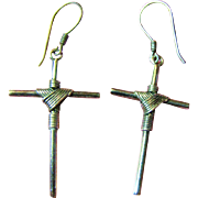 Sterling Silver Draped Cross Earrings