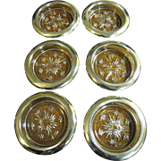 Lovely Matched Set of 6 Silver Plated & Crystal Coasters
