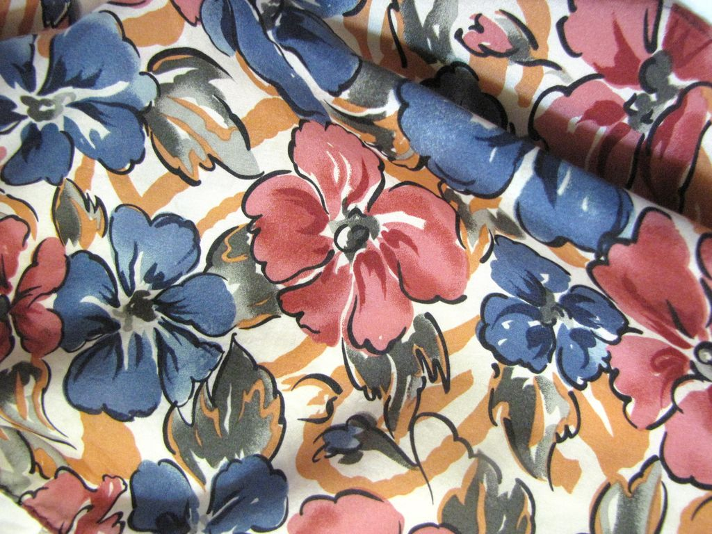 "Lovely Retro Silk Floral Print Scarf, 54"" Long, Ships Free!"