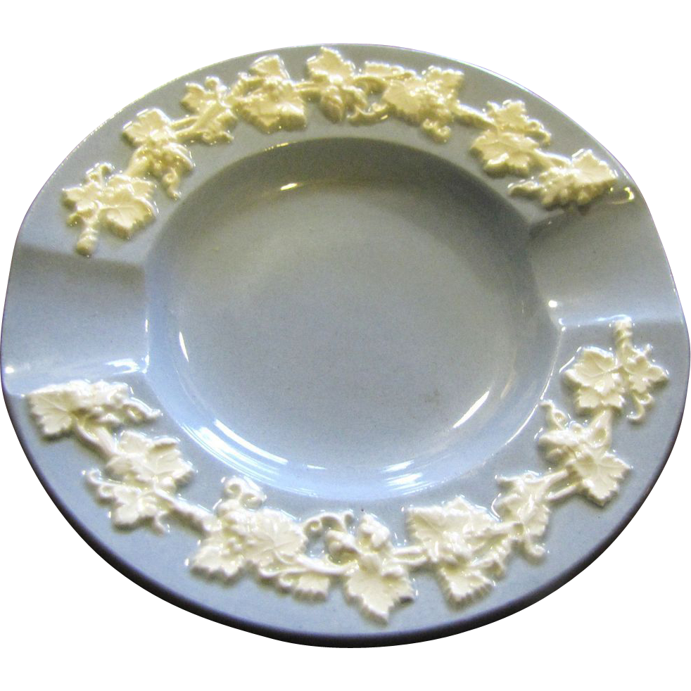 Wedgwood Embossed Queens Ware ~White on Blue ~ Ashtray