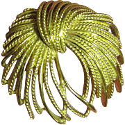 "Stylish Signed Monet ""Mirador"" Gold-tone Pin circa 1960's"
