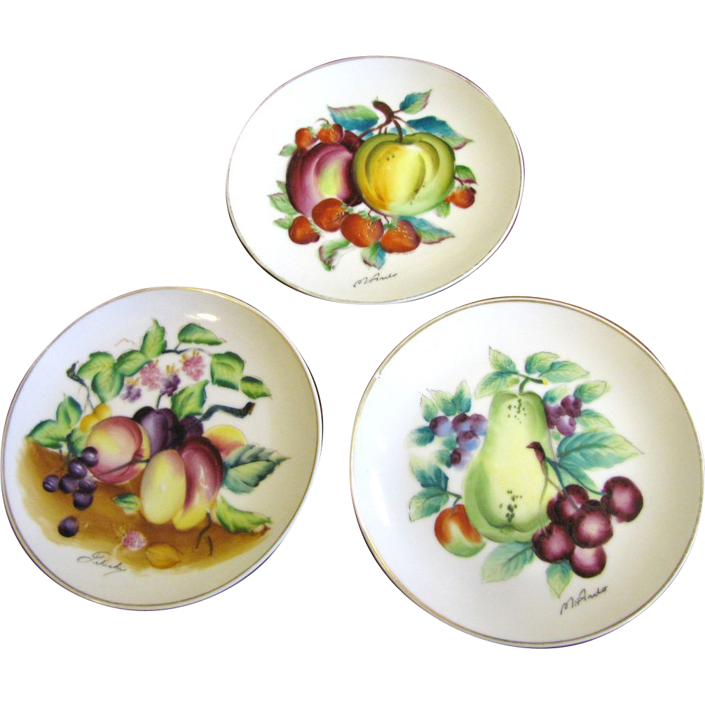 Set of 3 Mid Century Bond Ware Hand Painted Wall Plates, Nice!