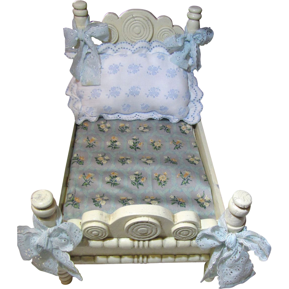 Perfect Early Shabby French Style Doll Bed with Prettiest Bedding