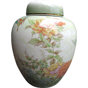 Exquisite Hand Enamelled Vintage Ginger Jar, Butterflies, Flowers!