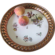 """Max Dannhorn Antique Hand Decorated 12"""" Porcelain on Copper Serving Tray"""