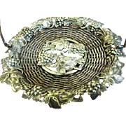 Exquisite French Antique Silver on Copper Basket for Candy, Cards