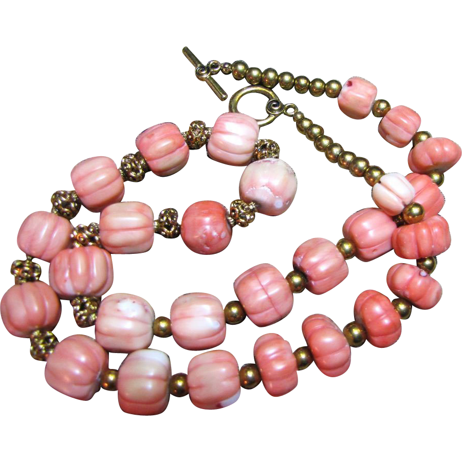 "24"" Hand Carved Large 16mm Coral Melon Bead Necklace"