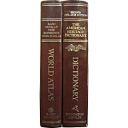 Nice Boxed Set of College Dictionary and World Atlas, 1985, Leatherette‏