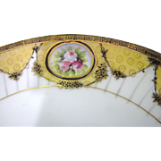 Beautiful Gilt Noritake Green Laurel Backstamp Serving Plate