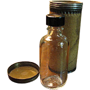 Nice Duraglass Medicine Bottle with Original Shipping Cannister