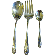 Three Silver Plated Serving Pieces in the Daffodil Pattern by Rogers
